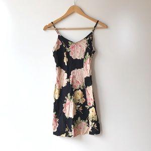 Vintage Betsey Johnson • Black Floral Mini Dress